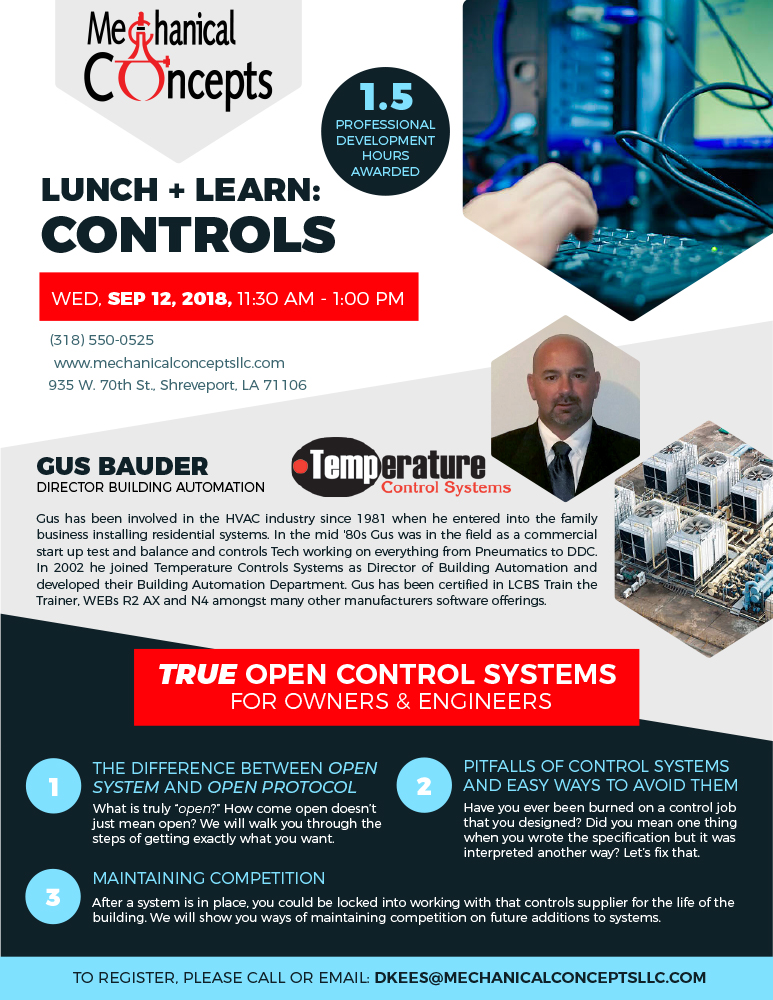 Controls Lunch + Learn @ Mechanical Concepts   Shreveport   Louisiana   United States