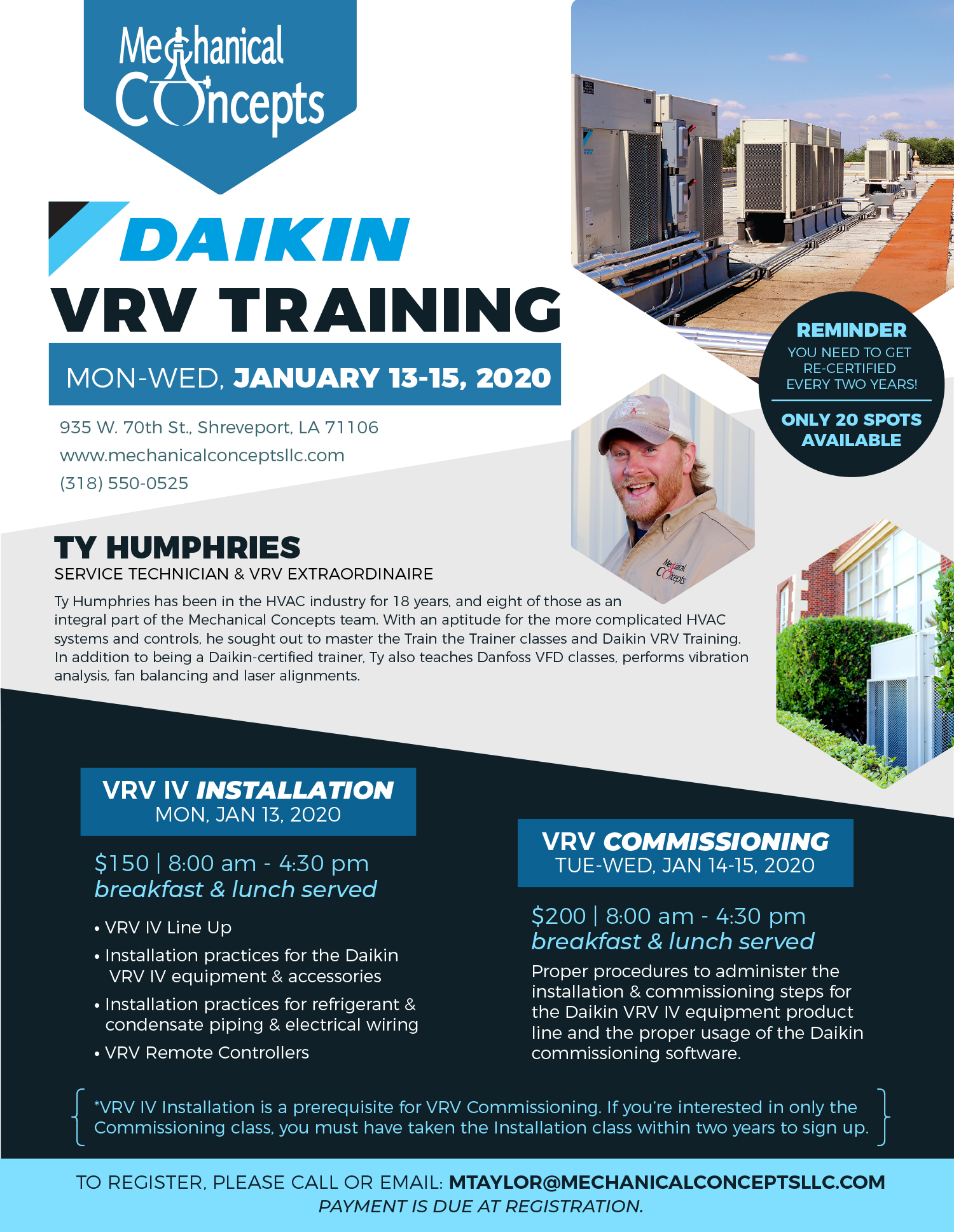 [Waitlisted] Daikin VRV Training | Jan 2020 @ Mechanical Concepts | Shreveport | Louisiana | United States